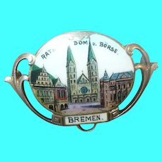 Vintage Sterling Brooch Enamel Bremen City