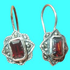 Vintage Sterling Drop Earrings Garnet