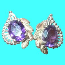 Vintage Sterling Earrings Amethyst