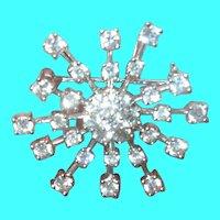 Vintage Sterling Pendant/Brooch Snowflake Faux Diamonds