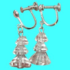 Vintage Sterling Rock Crystal Drop Earrings