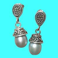 Vintage Sterling Drop Earrings Cultured Pearls