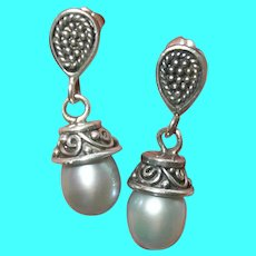 Vintage Sterling Drop Earrings Cultured Pearls