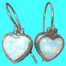 Vintage Sterling Heart Earrings Opal Doublets