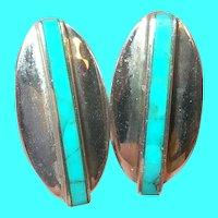 Vintage Sterling Earrings Modernist Design Turquoise