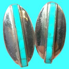 Vintage Sterling Earrings Modernist Design Turquoise