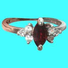Vintage Sterling Garnet Ring Faux Diamonds