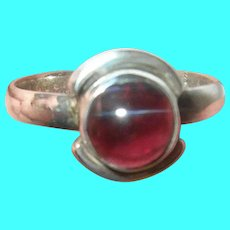 Vintage Sterling Ring Modernist Design Garnet
