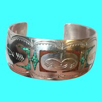 Vintage Sterling Turquoise Coral Inlay Cuff Bracelet by M.E.