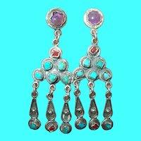 Vintage Sterling Chandelier Earrings Amethyst Turquoise Coral