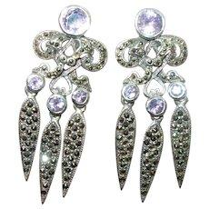 Vintage Sterling Amethyst Marcasite Chandelier Earrings