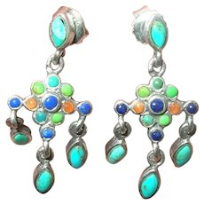 Vintage Sterling Chandelier Earrings Turquoise and Natural Stones