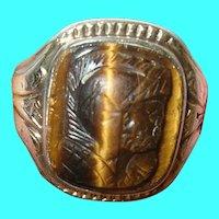 Vintage 10K Sterling Tigers Eye Ring
