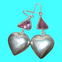 Vintage Sterling Amethyst Puffy Heart Drop Earrings
