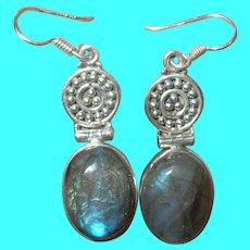 Vintage Sterling Labradorite Drop Earrings by NB