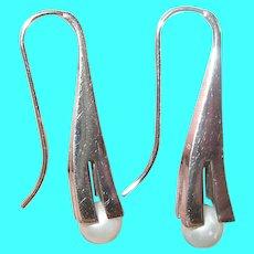 Vintage Sterling Modernist Pearl Earrings