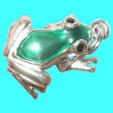 Vintage Sterling Enamel Frog Charm