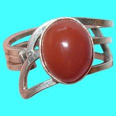 Vintage Sterling Carnelian Ring Modernist Design