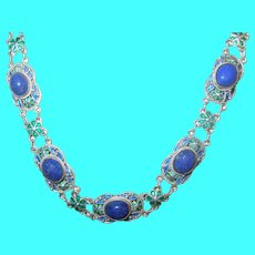 Vintage Sterling Blue Lapis Enamel Necklace