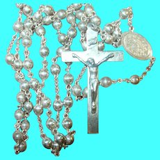 Vintage Sterling Silver Rosary Beads