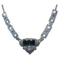 Vintage Sterling Black Onyx Marcasite Necklace