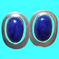 Vintage Sterling Earrings Natural Blue Stone