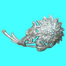 Edwardian Sterling Repousse Flower Brooch
