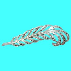 Vintage Coin Silver Marcasite Feather Brooch