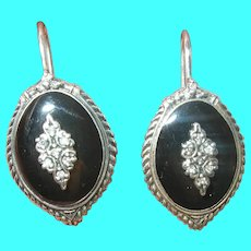 Vintage Sterling Earrings White Diamonds Black Onyx