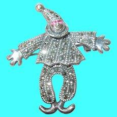 Vintage Sterling Marcasite Ruby Jester Pendant Brooch