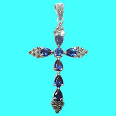 Vintage Sterling Cross Pendant Marcasite Faux Sapphires