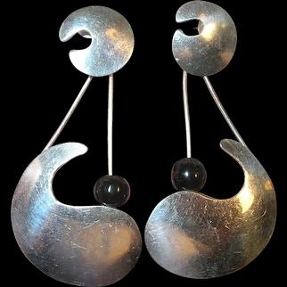 Vintage Sterling Modernist Taxco Kidney Earrings