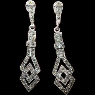 Vintage Sterling Marcasite Drop Earrings