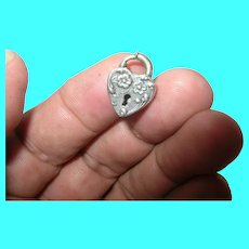 Edwardian Sterling Puffy Heart Lock Charm