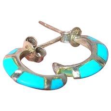 Vintage Sterling Hoop Earrings Turquoise