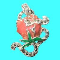 Vintage Sterling Rose Pendant Marcasite