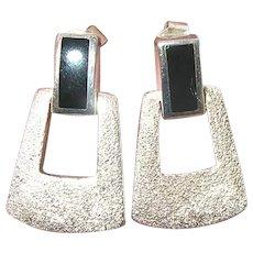 Vintage Sterling Modernist Design Earrings Black Onyx
