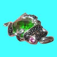 Vintage Sterling Frog Pendant