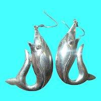 Vintage Sterling Earrings Fish Design