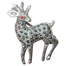 Vintage Sterling Deer Brooch Marcasite