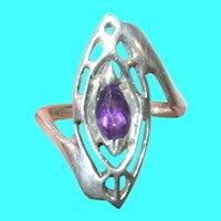 Vintage Sterling Modernist Ring Amethyst