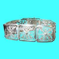 Vintage Sterling Link Bracelet Filigree Work