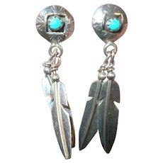 Vintage Native American Earrings Turquoise