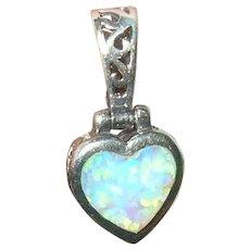 Vintage Sterling Heart Pendant Opal Doublet
