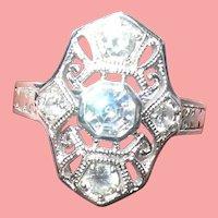 Vintage Sterling Ring Filigree Work Faux Diamonds