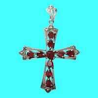 Vintage Sterling Cross Pendant Garnet