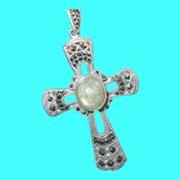Vintage Sterling Cross Pendant Labradorite Marcasite