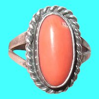 Vintage Sterling Ring Coral Stone