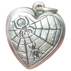 Edwardian Sterling Puffy Heart Charm Spider Web