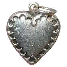 Edwardian Sterling Puffy Heart Charm Repousse